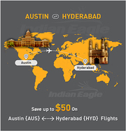 Austin to Hyderabad Flights | Indian eagle